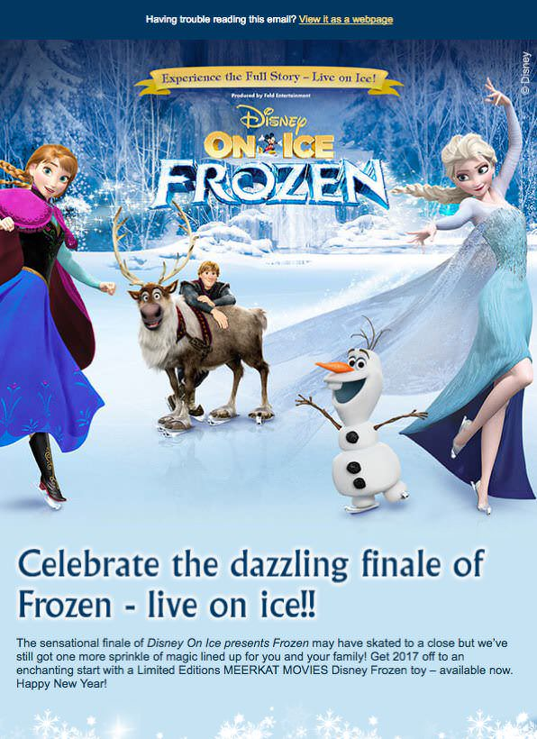 Disney on Ice marketing email - Agencies