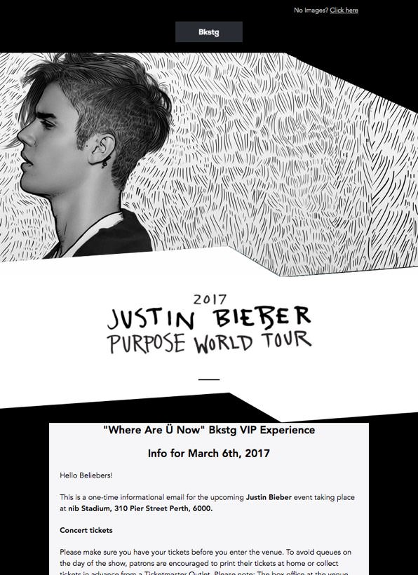 Justin Bieber marketing email - Agencies