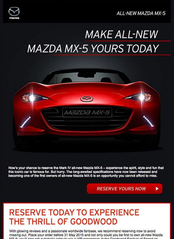 Mazda marketing email - Agencies