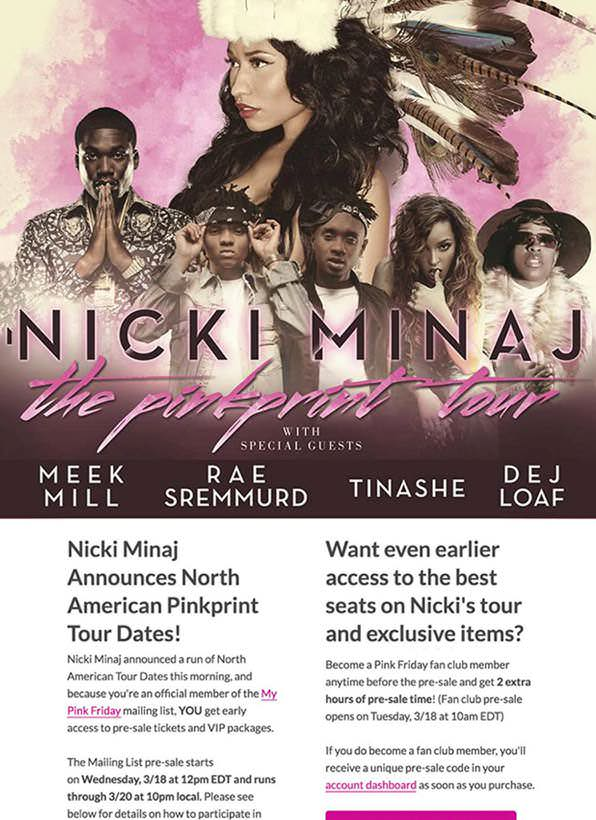 Nicki Minaj marketing email - Agencies
