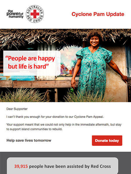 Campaign Monitor Customer Red Cross Email