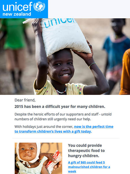 Campaign Monitor Customer UNICEF Email