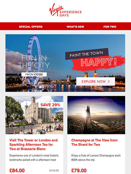 Campaign Monitor Customer Virgin Experience Email