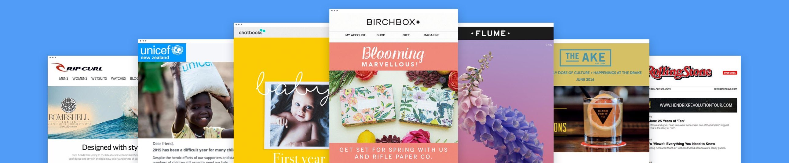Email marketing examples - Birchbox, Flume, Chatbooks.