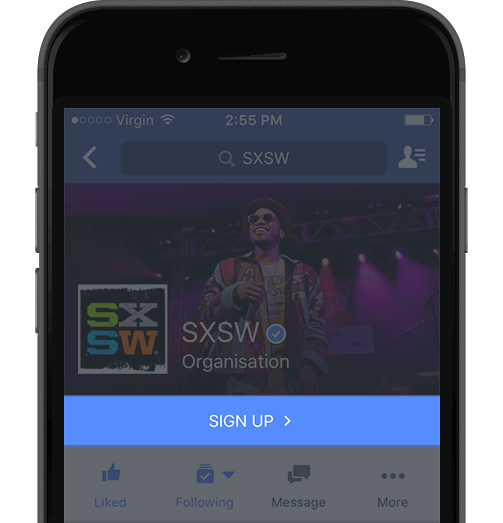 Grow Email List - SXSW Facebook App