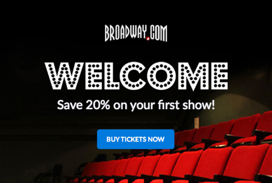 Broadway.com automated welcome email