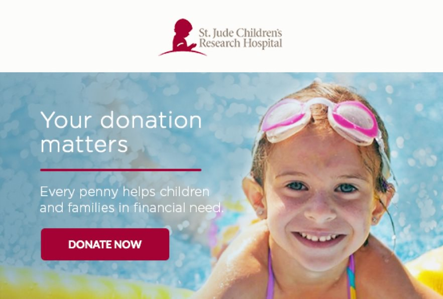 "St. Jude's automated re-engagement email that reads ""Your donation matters"""