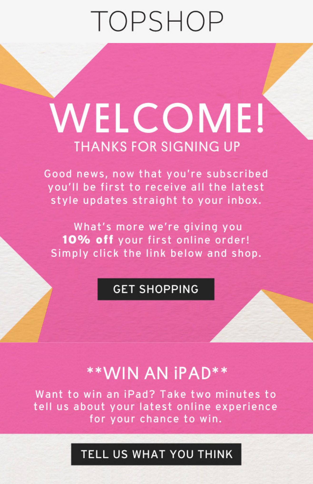 Shopify Integration - Welcome Email for Newsletter Subscriber - Topshop