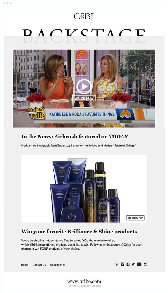 Email Marketing - Oribe Announcement Email