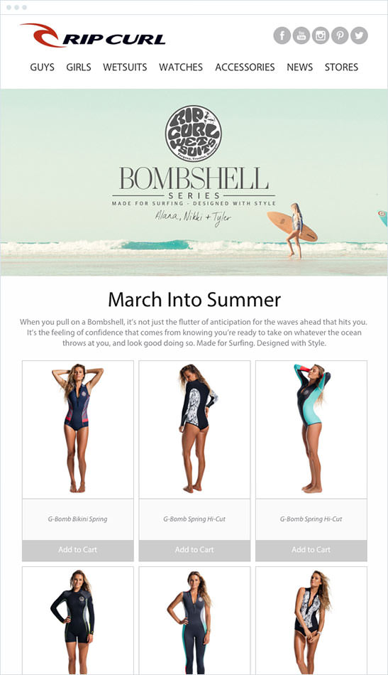 Email Marketing - Rip Curl Marketing Offers Email