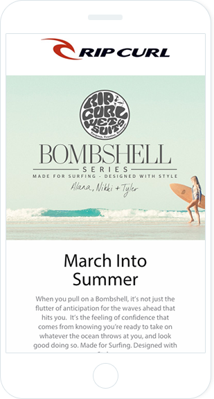 Email Marketing - Rip Curl Mobile Marketing Offers Email