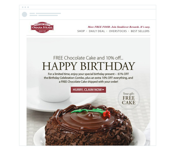 Omaha Steaks - Birthday Offer Email
