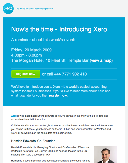 Email Design - Call to Action Button - Xero