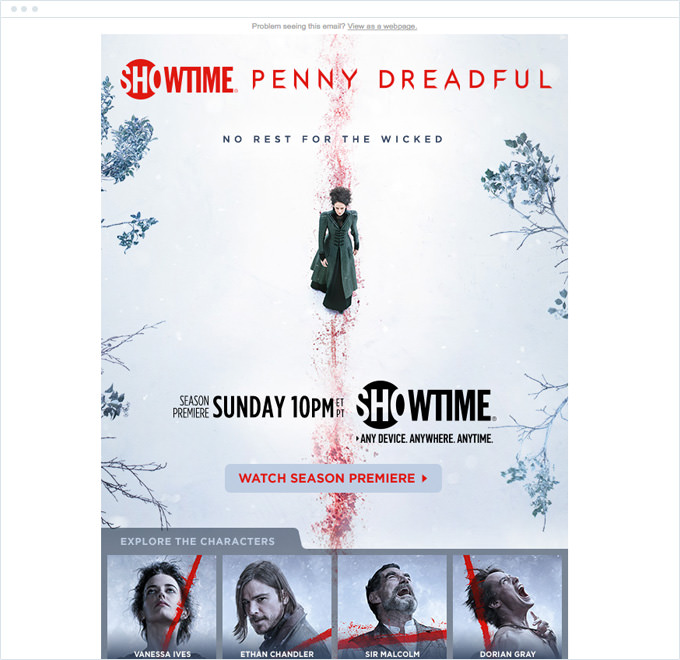 Showtime - Announcement Email Campaign