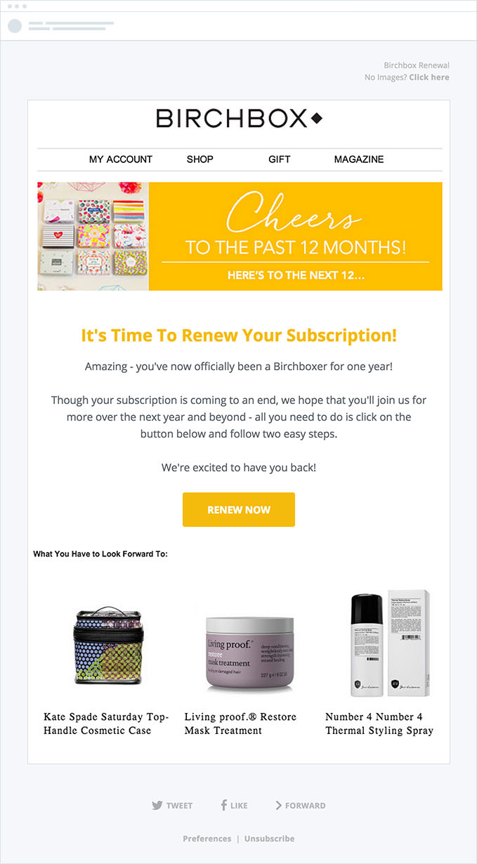 Birchbox - Subscription Renewal Emails