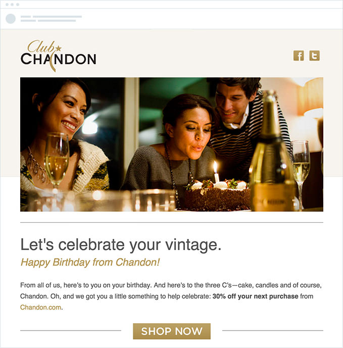 Chandon - Birthday Email with Special Offer
