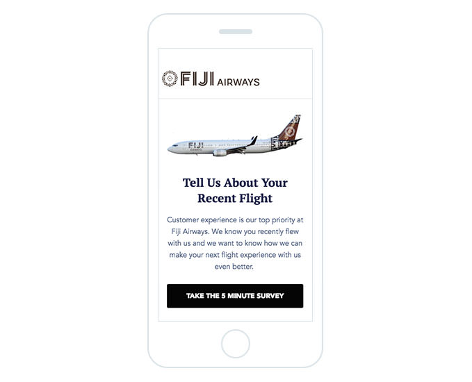 Fiji Airways - Request for Feedback Email