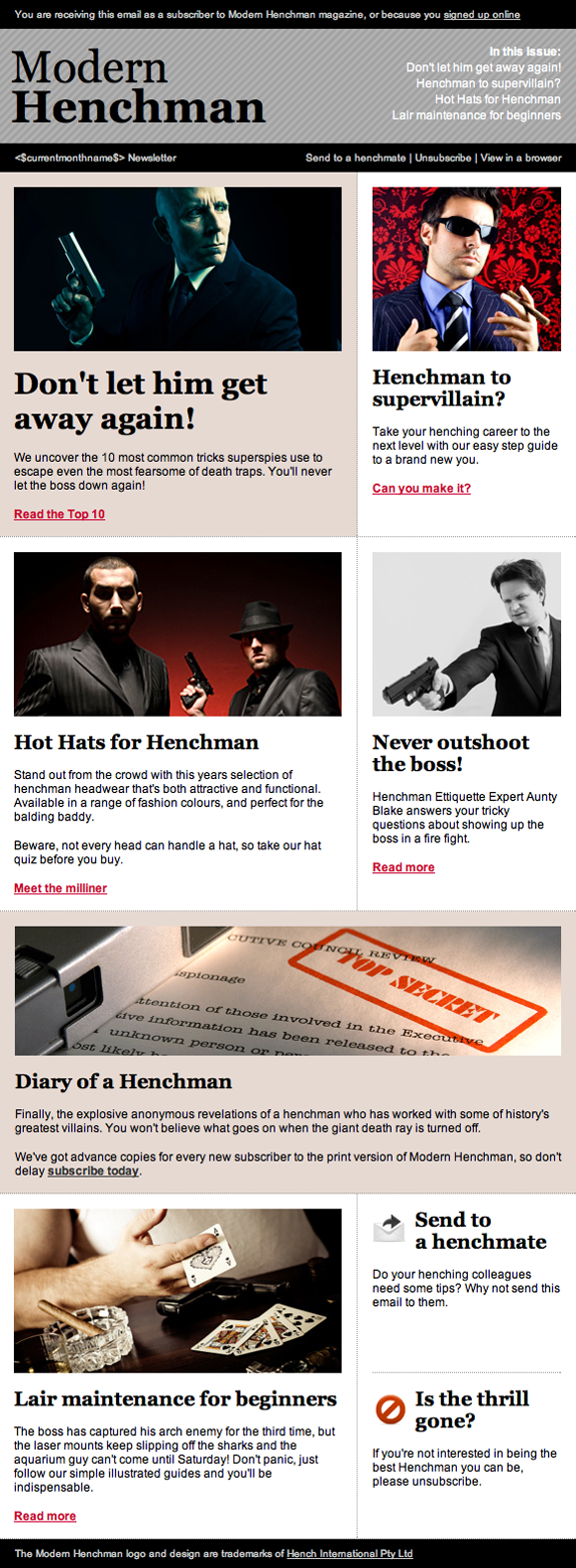 Email Design - Magazine Newsletter - Modern Henchman