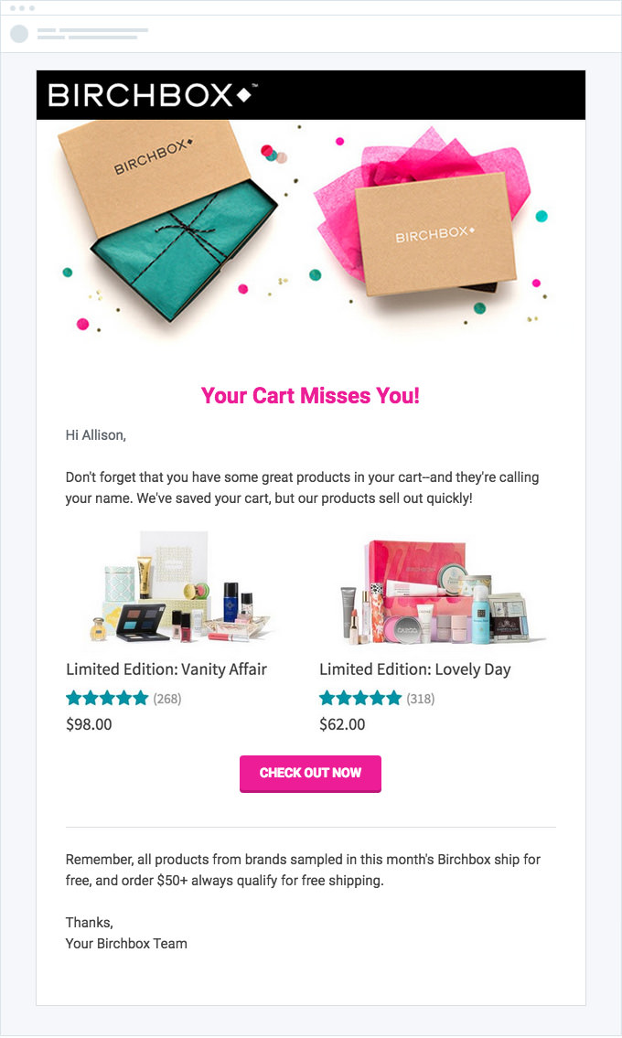 Birchbox - Shopping Cart Abandonment Email