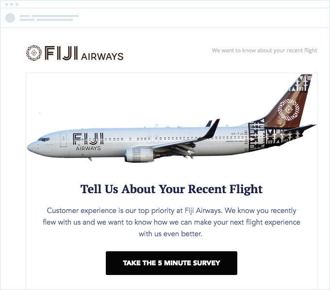 Fiji Airways - Feedback Email