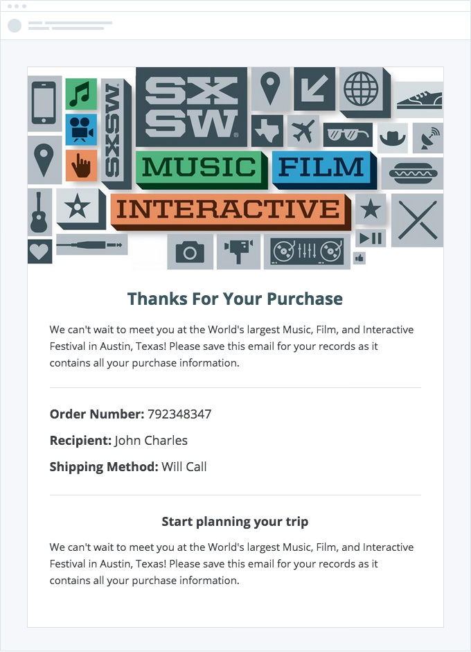 SXSW - Confirmation Email