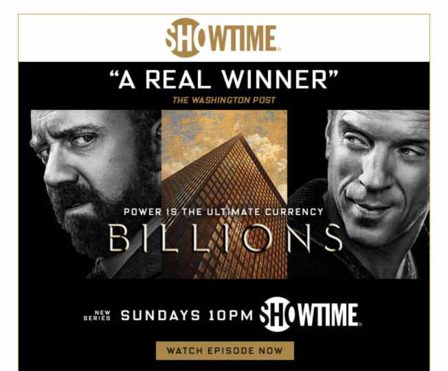 Showtime - Email Marketing Campaign Example