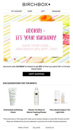 Birchbox - Tablet Email Marketing Campaign Example