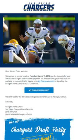 San Diego Chargers - Tablet Email Marketing Campaign Example