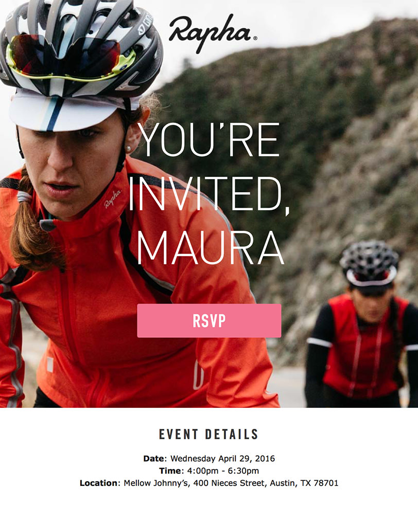Email Marketing - Rapha Email Invites