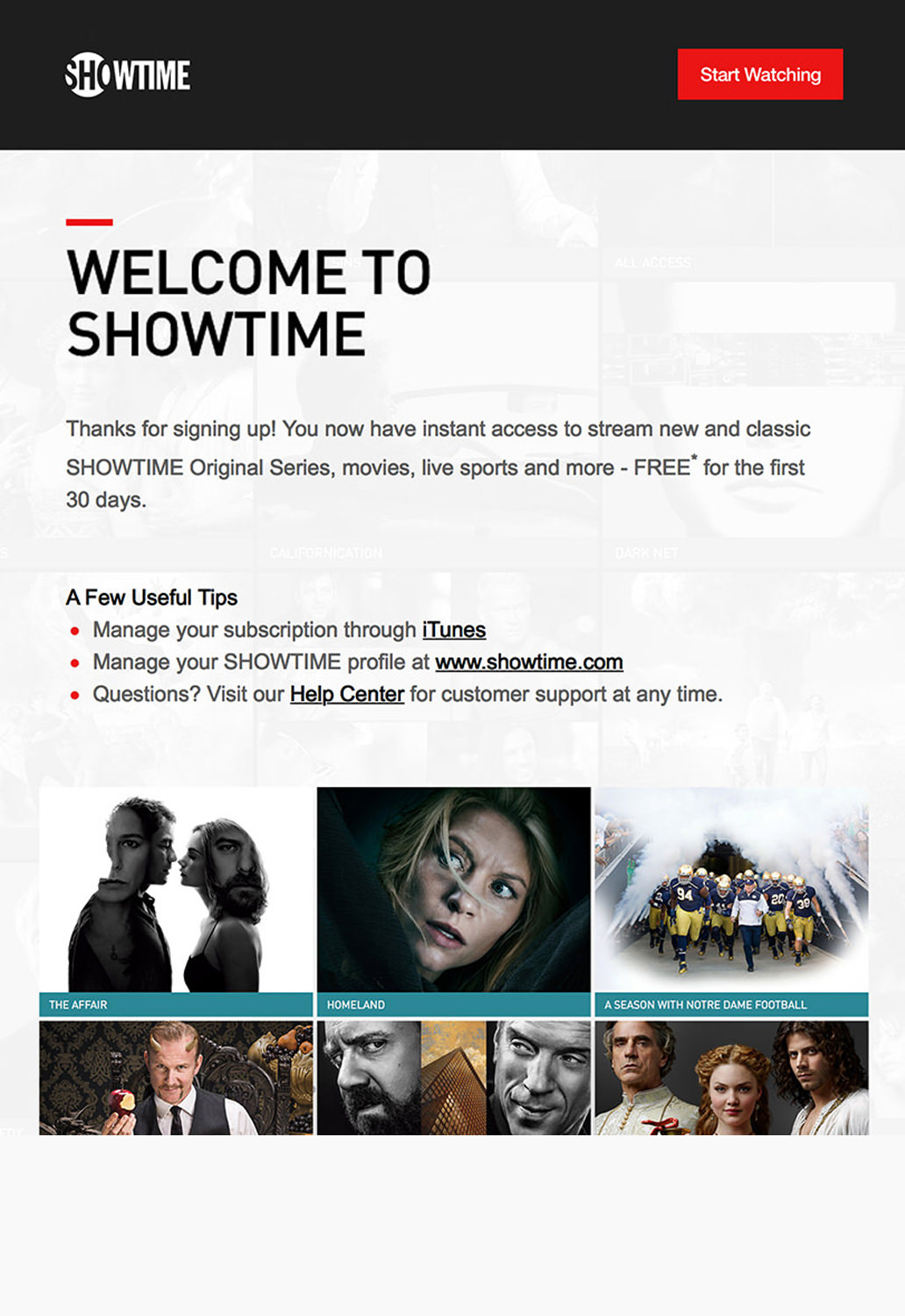 Media and Entertainment Email Marketing - Showtime