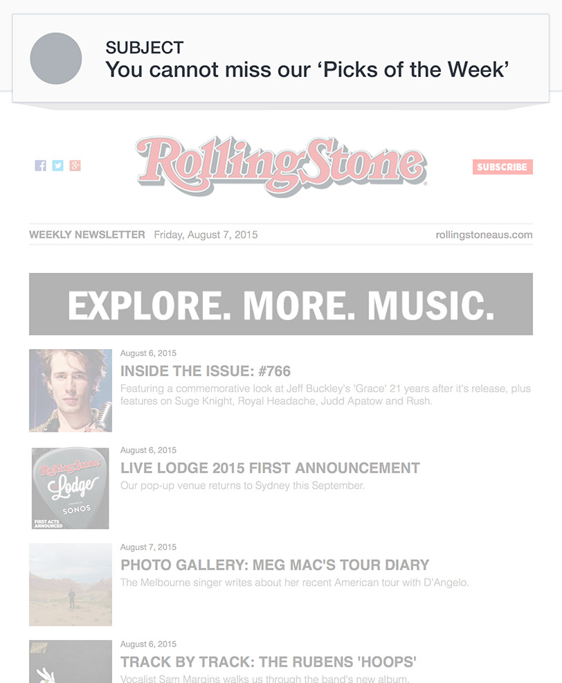 Email Marketing - RollingStone Email Newsletter