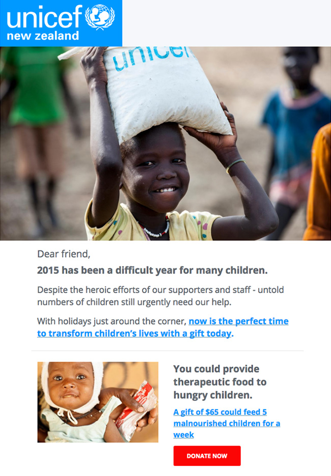 Nonprofit Email Marketing - UNICEF