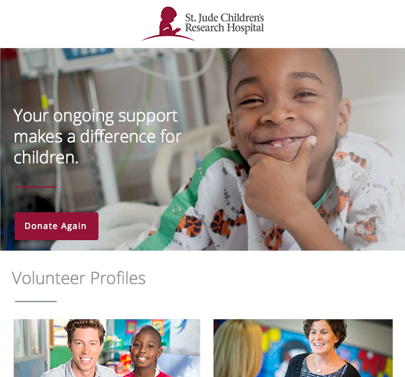 Nonprofit St. Judes marketing automation email donate again