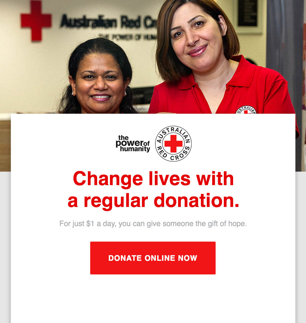Nonprofit Australian Red Cross email marketing donation email