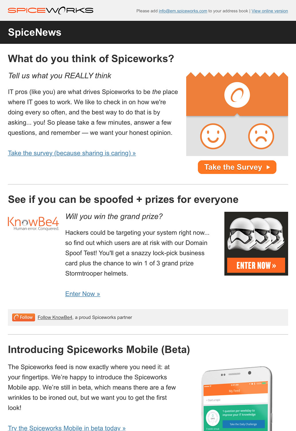 Technology Email Marketing - Spiceworks