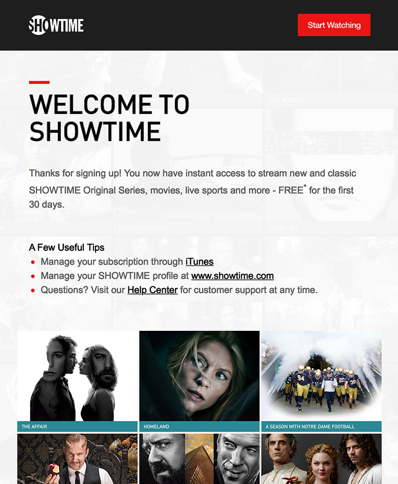 Email Marketing - Showtime Welcome Email